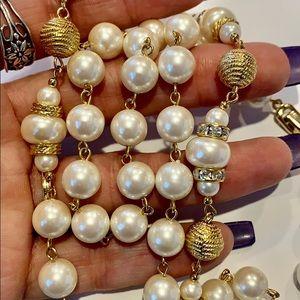 💐5/25 long unique gold large faux pearl necklace